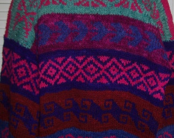 Vintage Bolivian Hand-Knitted Heavy Winter Wool Sweater Size Large - XL