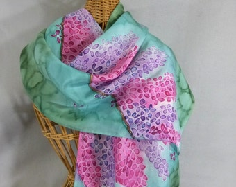 """Hand Painted Silk Scarf """"Lavender and Pink Wisteria"""""""