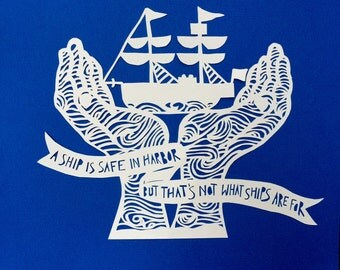 A Ship in Harbor Handcut Papercut