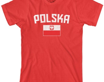 Polska Flag Men's T-shirt Polish National Team Poland Warsaw Football European Republic Soccer - TA_00307