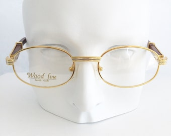 Cartier frames, Vintage gold and wood glasses, Gold & silver plated round glasses, Brown wood temple arms, Woodline glasses, Cartier replica