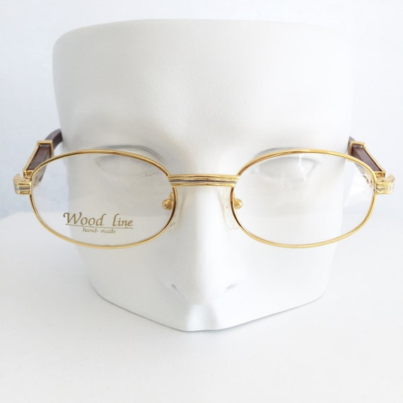 Gold And Silver Eyeglass Frames : Gold and wood eyewear Gold & silver plated round shape