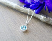 Sterling Silver Framed Genuine Round Blue Aquamarine Necklace, Simple Stone Necklace, Maxixe