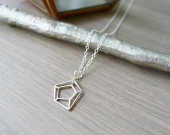 Geometric Necklace, Minimalist Jewelry, Sterling Silver, Geometric, Diamond Cut Out, Geometric Jewelry, Geometric Jewel, Modern Jewelry