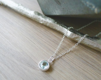 Sterling Silver Blue Topaz Necklace, Simple Gemstone, Minimalist Necklace, December Necklace, December Birthstone, Blue Topaz Jewelry