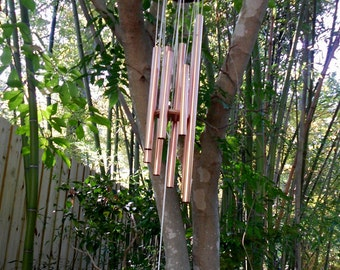 Personalized Wind Chimes Wedding gift Copper tubes wind chime Carved handcrafted wood gift
