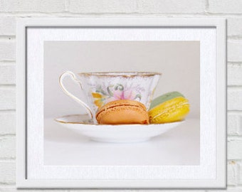 Kitchen art, tea cup art, macarons wall art, dining room still life picture, french country kitchen decor, kitchen print, tea cup art print