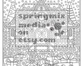 Coloring Page to Relax, Soothing, calm and delightful pages to color, Winter Holiday
