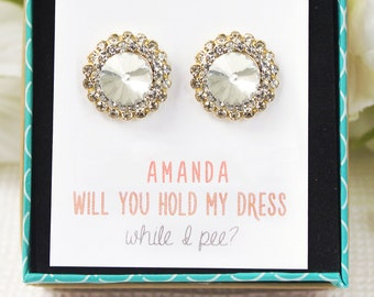 Bridesmaids Gold Earrings Personalized Bridesmaid Gift Bridesmaid Earrings Gold Studs Crystal Studs Mother of the Bride Gift E175-G