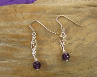Sterling Silver & Amethyst Earrings, Sterling Silver Earrings, Amethyst Earrings, Filigree Earrings, Handmade, Hand Crafted