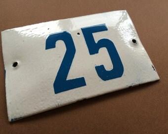 Vintage Enamel Sign Tin Porcelain House Number 25 Door Gate White Blue 1950's