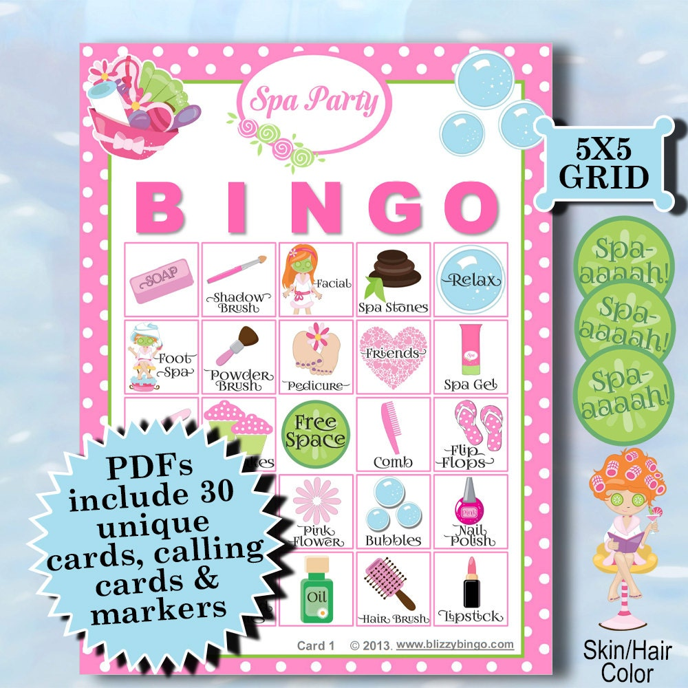Spa Party 5x5 Bingo Printable Pdfs Contain Everything You Need