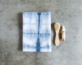 Large Shibori Dyed Cotton Hot Cloth / Face Cloth / Hand Towel / Steaming Towel