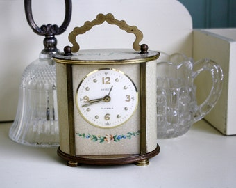 Shabby Carriage Clock Roses Semca 7 Jewels Swiss For Display