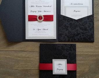 Wedding Invitation, Pocket, Black, Silver