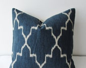 Moroccan Ikat Print Navy Quatrefoil Decorative Pillow Cover 18x18, 20x20 Square Throw Pillow, Accent Pillow, Toss Pillow