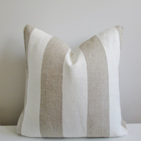 Striped Linen Pillow Cover 18x18 20x20 Square Throw Pillow