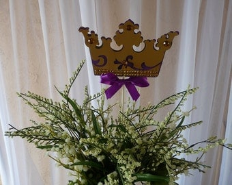 Purple and Gold Crown centerpieces Stick, Royal Crown purple and Gold/ Crown centerpieces stick