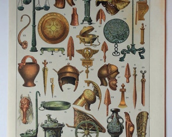 1900 BRONZE AGE Antique Fine Lithograph. Art, weapons, vessels... 115 years old nice print!