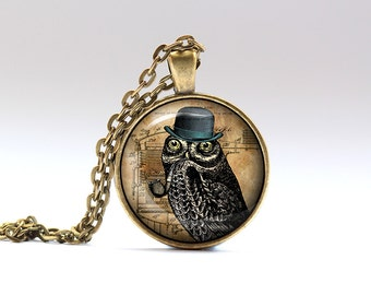 Owl gift Owl jewelry Steampunk pendant Gothic necklace SNW7