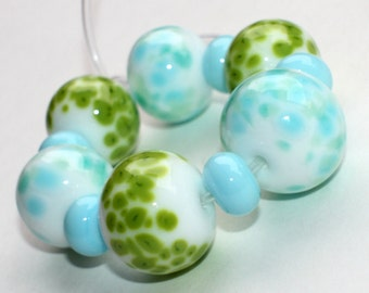 Mix Set of 6 Donut Beads - White Green Mint - 14 mm, 16 mm - Pastel Focal Handmade Lampwork Glass Beads