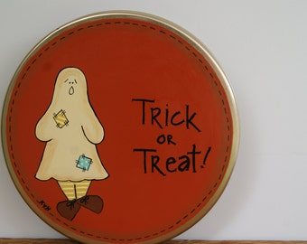 Halloween Candy Tin, Trick or Treat Candy Tin, Halloween Ghost Decoration, Halloween Decoration, Halloween Decor, Trick or Treat Decoration