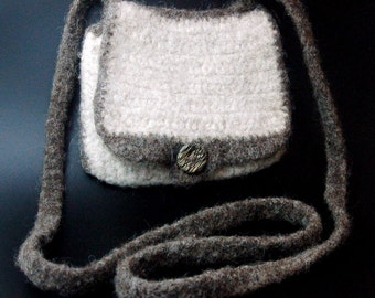 Grey and White Felted Crochet Purse