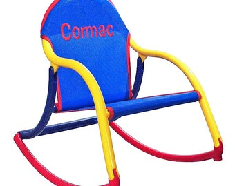Personalized Childrens Rocking Chair In Blue Mesh (outdoor Furniture)  Fabric That Folds And Is.