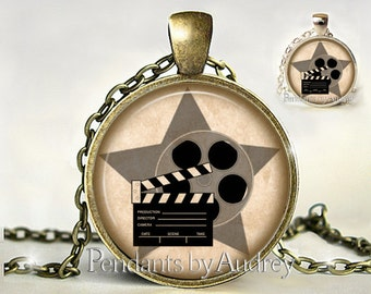 Hollywood Movie Necklace,Vintage Movie Pendant,Jewelry,Clapboard,Antique,Art,Picture,Image,Print,Glass,Dome,Charm