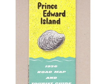 1956 Prince Edward Island Vintage Road Map and Tourist Guide. Canada's Garden Province  Souris Lighthouse, Malpeque Bay