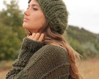 Military green beanie, soft chunky knit beanie, slouchy women's hat, hand knit soft and warm winter hat, green beanie, military green hat