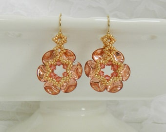 Swarovski Beaded earrings,Beaded Swarovski earrings,Beaded jewelry,Clip earrings,Flower  earrings - Rose Petal Earrings