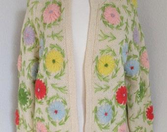 Wool Knit Flower Sweater. Multi Color Flower Cardigan Sweater, Daisy Cardi Sz ML