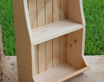 "Unfinished Wall Shelf with Bin, DIY,  20.75"" x 14"" x 7.5"", Unfinished Wood Shelf, Freestanding Shelf with Cubby"