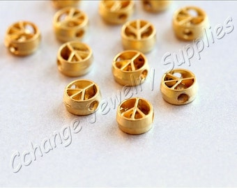 10 pcs Gold Peace Charms, (8mm x 4mm) Gold Peace Sign Charm, 24k Matte Gold Plated Peace Charm, Gold Metal Charms, Gold Peace Sign / GPY-157