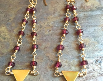 Garnet gemstone gold chandelier earrings with triangle charms