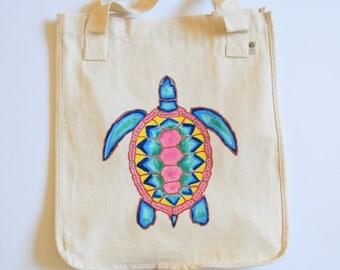 Sea Turtle Tote Bag. Azetc Sea Turtle Hand-Painted Tote. Beach Bag. Gift. Hand painted Sea Turtle Gift. Grocery Bag. Unique Gift. Yoga Bag