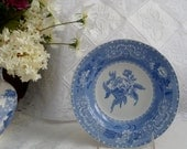 RESERVED for Rita, Blue transferware  Copeland Spode soup bowls.  Set of 8 in Camilla pattern earthenware c. 1940's.