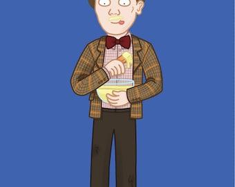 Doctor Who Birthday Card - Matt Smith - BBC - Sci-fi - Geeky - Fez - Custard - Fish fingers - 11th Doctor