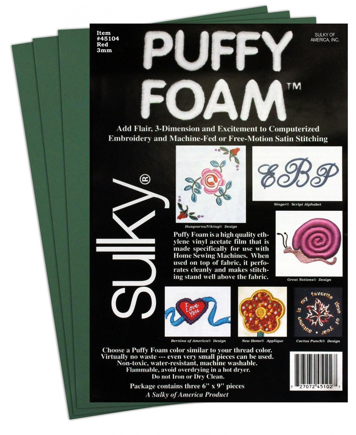 Forest Green Sulky Puffy Foam 6 X 9 3 Pcs Per Pack 2mm