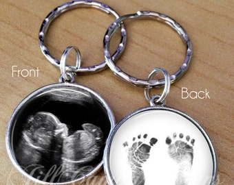 Sonogram keychain, Baby Footprints Key Ring, Sonogram gift, Baby Sonogram Keychain, Keepsake Keychain, Baby Footprints Keychain