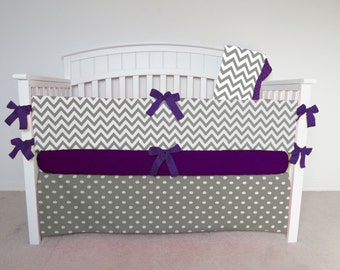 FREE SHIPPING - 4 Piece Crib Set - Chevron and polka dot crib set