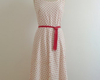 50s polka dots flared dress with leather belt tie