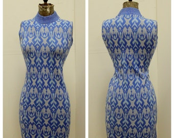 "GROOVY 1960's ""Ronit"" Jersey Sheath Mini Dress - Shift Dress - Wiggle - Atomic Print - MOD - VLV  - Size S"