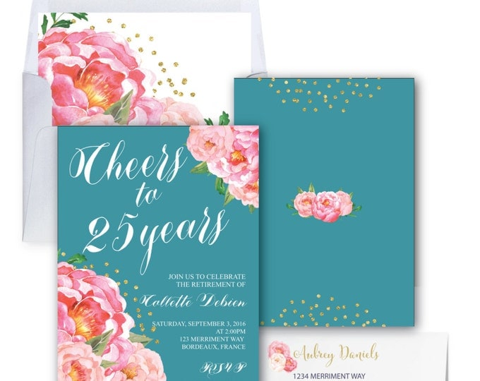 Retirement Party Invitation // Pink Floral Retirement Invitation // Peonies // Teal // Cheers // Pink // Gold Glitter // BORDEAUX COLLECTION