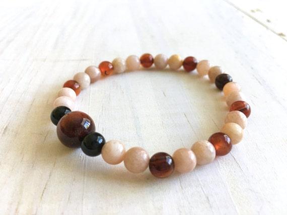 Sunstone And Dream Agate Mala Bracelet, Matching Mala Bead Bracelet, Natural Beaded Bracelet, Stretch Bracelet, Yoga Stye Jewelry