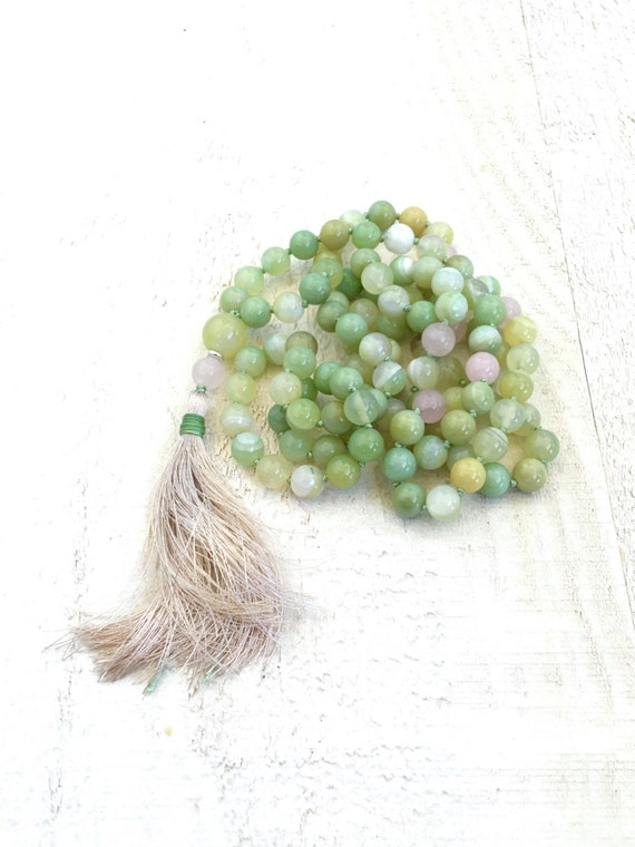 Gemstone Knotted Mala Necklace, 108 Bead Green Mala, Silk Tassel Knotted Mala Beads, Yoga Meditation Beads, Long Beaded Mala Necklace