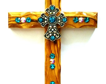 Decorative Wall Cross, Turquoise, Wall Cross, Country Girl
