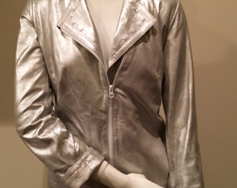Silver Italian Leather Jacket