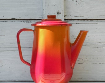 French enamel red tea pot, vintage enamel coffeepot, French vintage tea pot, vintage coffee pot, red and orange country home enamelware